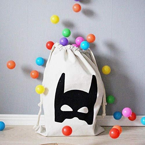 PomPomHome Baby Toys Drawstring Canvas Bags Batman Bear Pattern Laundry Bag Pouch Baby Kids Toys Storage Bag Canvas Cute Wall Pocket (03)