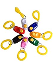GLE2016 Dog Clickers with Wrist Bands, 2 in 1 Pet Training Clickers, Whistle and Clicker Pet Training Tools with Wrist Strap, Train Dog, Cat, Pets (10 PCS)