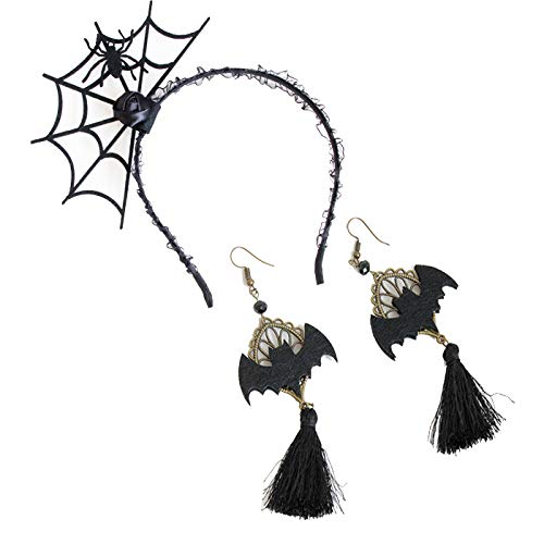 Women Girls Unique Bat Earrings, Halloween Party Dress Cosplay Decoration Supplies Spider Web Headband (Set) -