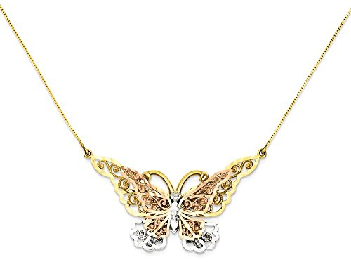 ICE CARATS 14k Yellow Rose Gold Butterfly Chain Necklace Animals/insect Fine Jewelry Gift For Women Heart by ICE CARATS (Image #1)
