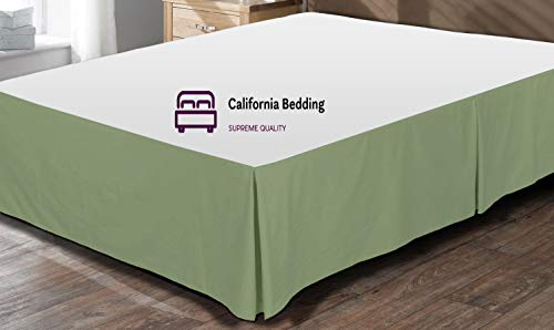 California Bedding 600 Thread Count Egyptian Cotton Queen Size Split Corner Tailored Bed Skirt 18'' Inch Drop Length Easy Fit, Wrinkle & Fade Resistant Moss Solid