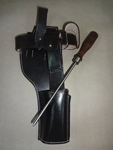 German C96 Broomhandle Mauser Dark Brown Leather Holster w/Cleaning Rod - Reproduction