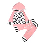 Ma&Baby Newborn Baby Girls Hand-Painting Heart Tops Hoodies Pants 2Pcs Outfits Clothes Set (0-6 Months)
