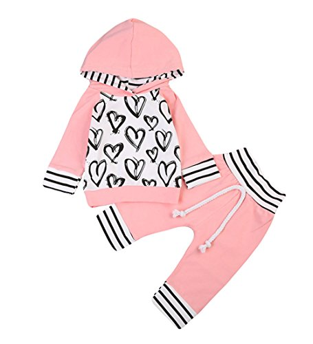 Ma&Baby Newborn Baby Girls Hand-painting Heart Tops Hoodies Pants 2Pcs Outfits Clothes Set (12-18 Months)