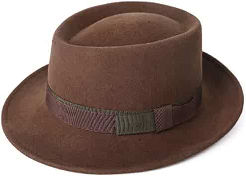 e88d726f83dfb Janetshats Men s Wool Felt Pork Pie Fedora Hat Crushable Boater Derby  Ribbon Cap