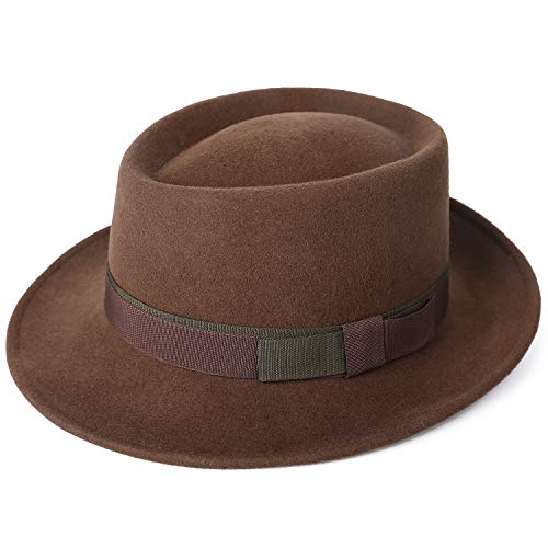Janetshats Men's Wool Felt Pork Pie Fedora Hat Crushable Boater Derby Ribbon Cap