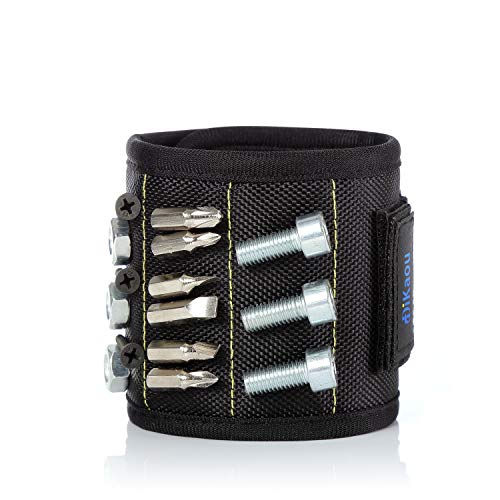 Magnetic Wristband with 20 Strong Magnets for Holding Screws Nails Drill Bits Gifts Gadgets Tools, Gift for Men, Father/Dad, Husband, Boyfriend, DIY Handyman, Women-Black