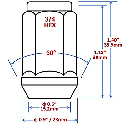 Mastiff 13754, Acorn Bulge After-Market Lug Nut Set - 1/2-20 Thread, Triple-Chrome Finish, 3/4 Hex, 60 Degree Conical Seat (Pack of 24): Automotive