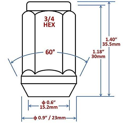 3//4 Hex Bulge Acorn 2-Piece Lug Nut 1//2-20 WheelGuard 1954BK Black Chrome Plating 4