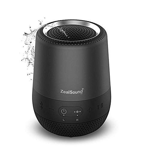 TWS Bluetooth Speaker, ZealSound Outdoor Waterproof Outdoor Bluetooth Speaker, 360 Degree Stereo Sound, Rich Bass, Sports Party Hiking Portable Wireless Speaker for Travel, with Strap (Black) -