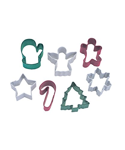 R&M International 1873 Mini Christmas Cookie Cutters, Tree, Star, Candy Cane, Angel, Mitten, Folk Boy, Snowflake, 7-Piece Set