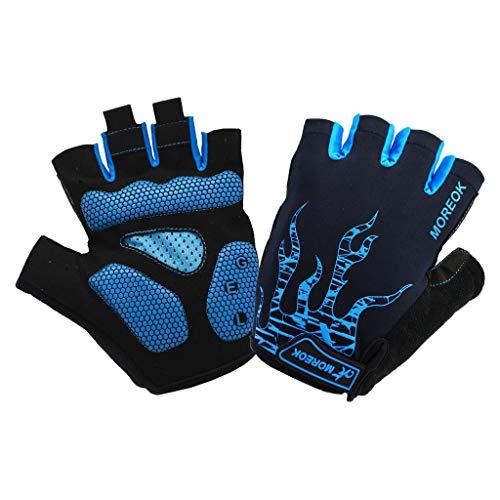(Andyshi Cycling Gloves Biking Gloves Gel Pad Shock-Absorbing|Anti- Slip|Breathable Men Women Sky Touring Team Gloves Mountain Bike Road Bicycle Gloves)