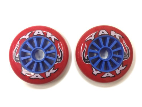 YAK キックボード用ウィール 110mm x 78a(Soft)前後Set (Red on Blue)