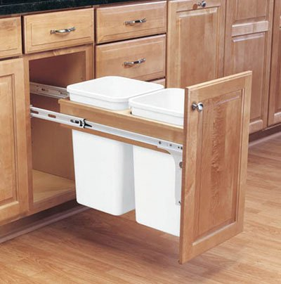 Rev-A-Shelf - 4WCTM-15DM2 - Double 27 Qt. Pull-Out Top Mount Wood and White Waste Container for 1-1/2 in. Face Frame Cabinet (Top Trash Roll Can)