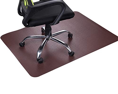 Dark Cherry Office Chair Mat and Under Computer Desk Pad for Hardwood Floor and Heavy Appliance, Brown Anti-slip 47x35