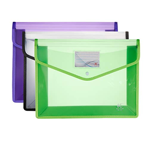 HC Eco-Friendly Plastic File Folders A4 Plastic File Wallet Poly & Oxford Expandable Envelope Folder with Snap Button Closure, Durable Waterproof Great for Office Home School - Green, White, Purple