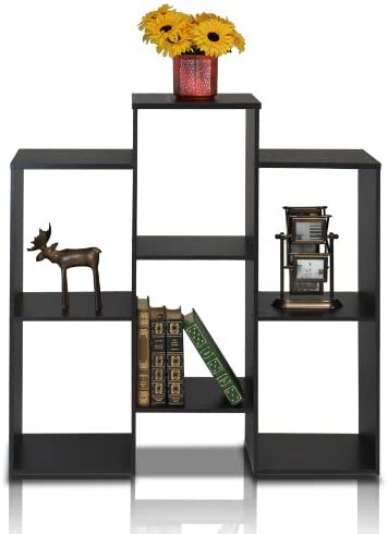 Furinno Parsons Staggered Cube Bookcase with 6 Shelves, Black