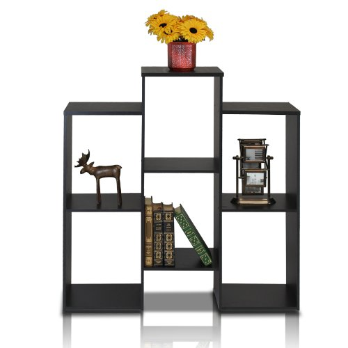 Furinno 12221BK Parsons Staggered Cube Bookcase with 6 Shelves, Black (Shelves Narrow Glass)
