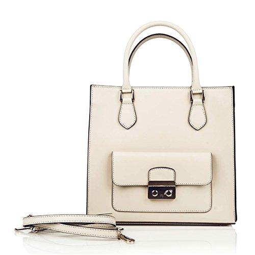 CELESTE G Tote Handtasche Tasche mit Griffen und Taschenverschluss Außen Verschluss mit verstellbaren Riemen Glattleder Elfenbein