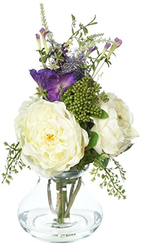 - Nearly Natural 1413-WH Rose and Morning Glory Arrangement with Vase