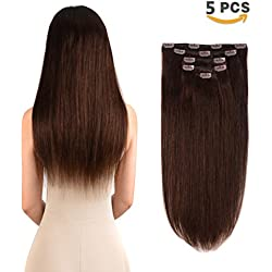 "5 Pieces 16"" Remy Clip in Hair Extensions Human Hair Dark Brown - Beauty Silky Straight Short Thick Real Hair Extensions for Women Fashion (16 inches, 2, 80grams)"