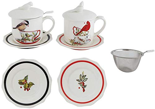 Bird Stoneware Mug with Saucer and Strainer - 2 Sets Included