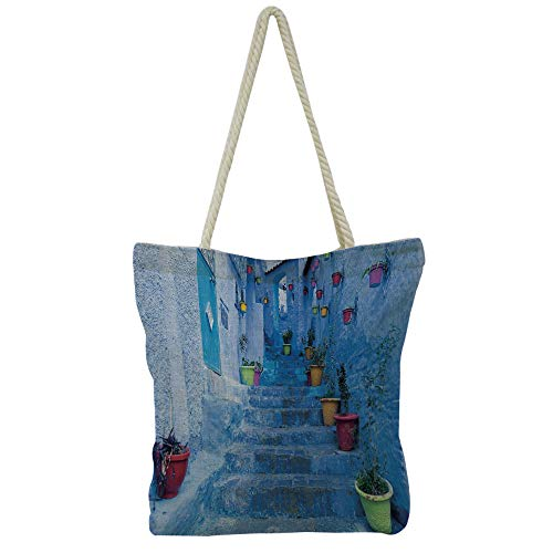 (iPrint Handbag Cotton and Linen Shoulder Bag Modern Stylish,Blue,Tranquil View of Lake Tahoe Sierra Pines on Rocks with Turquoise Waters Shoreline,Blue Grey Green,Personalized Customization.)