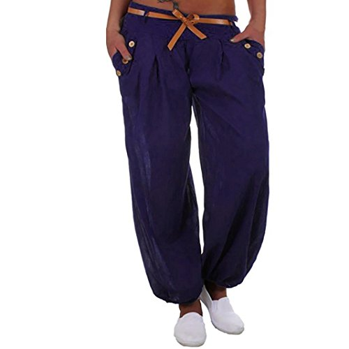 Pantalon taille haute Femmes, Toamen Style Sports Yoga Pantalons de sport Ceinture Taille haute Pantalons longs Pantalons pantalons de survtement Dcontracte (4XL, Bleu) Bleu