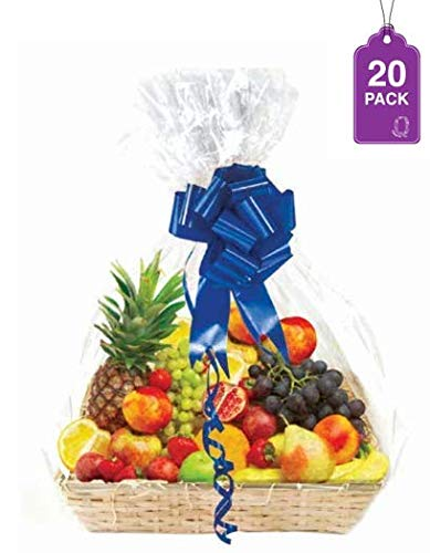 Clear Basket Bags, Large Clear Cellophane Wrap for Baskets & Gifts 30″x 40″ 1.5 Mil Thick (20 Pack)