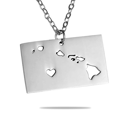 HooAMI State Necklace Hawaii State Charm Necklace Stainless Steel State Pendant Necklace with a Heart