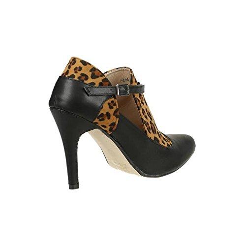 Escarpin - femme - noir et léopard