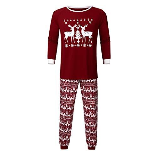 Men Deer Tops Blouse Pants Family Pajamas Sleepwear Christmas Outfits Set