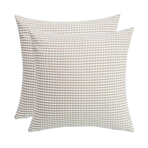 (SUNOOMY Pack of 2 Soft Handmade Checkers Plaids Square Cotton Throw Pillow Cover Cushion Case,Decorative Sofa Couch Bed Chair,White&natural linen,18