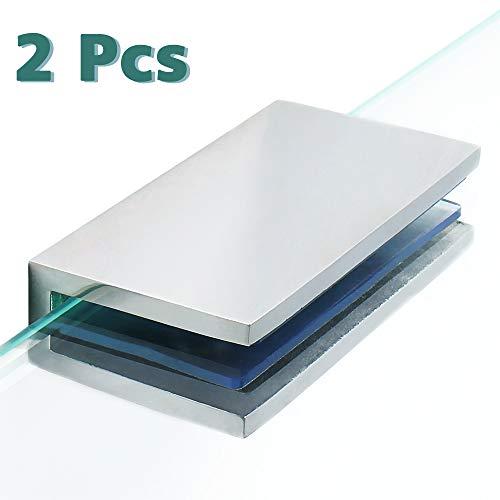 Alise BL2000-2P Adjustable Frameless Rectangle Glass Shelf Bracket Holder Heavy Duty Clamp Shelf Clip,SUS 304 Stainless Steel Polished Chrome 2 Pcs ()