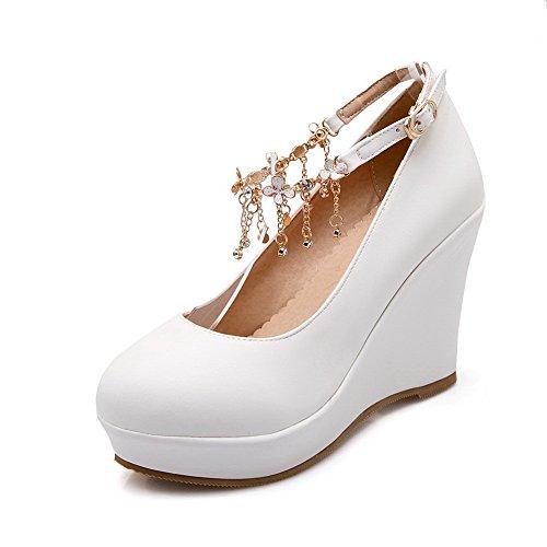 Balamasa Girls Solid Hebilla De Tacón Alto De Cuero Imitado Bombas-zapatos Blanco