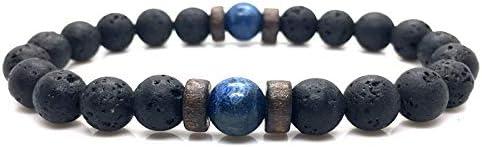 LATHEA Pulsera Moonstone Bead Tibetan Lava Stone y Imperial Jasper Jewelry Gift para hombres