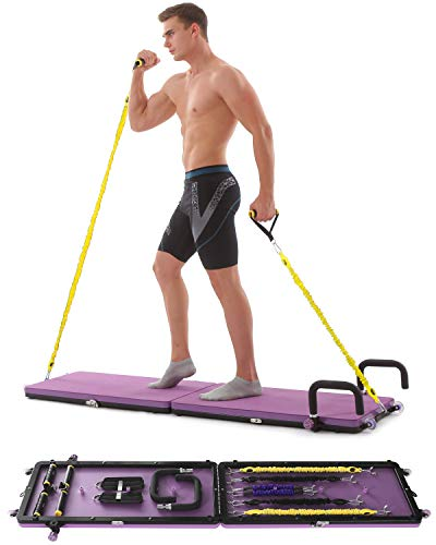 Home Gym Workout Fitness Platform,Portable Full Body Exercise Home Gym Workout Kit with Resistance Bands,Push up Bar,Yoga Mat for Muscle Building Training Workout for Home or Outside. (Purple)