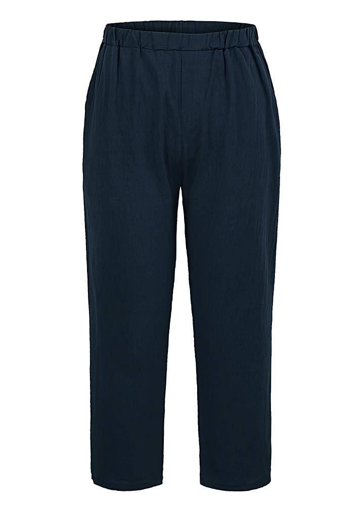 Romacci Woman Cotton Linen Harem Pants Casual Loose Pockets Plus Size Pantalon Trousers