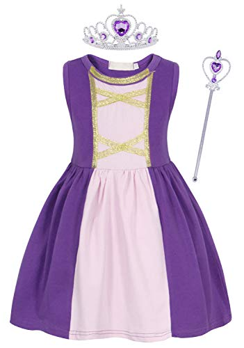 Dressing Up Kids (AmzBarley Princess Rapunzel Costume Dress for Girls Theme Party Cosplay Dressing up Kids Halloween Outfit Holiday Playwear with Crown and Wand Size)