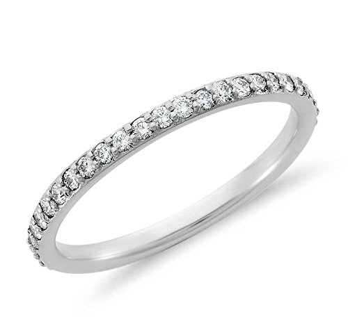 Venetia Realistic Top Grade Hearts and Arrows Cut Simulated Diamond Ring Semi Eternity Stackable Band 925 Silver Platinum Plated cz cubic zirconia ()