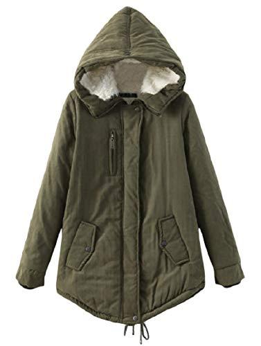 Caldo Cappuccio Velluto Donne Tasca Delle Giacca Outwear Militare Verde Xinheo Cerniera lungo Medio Solido qtwAFd