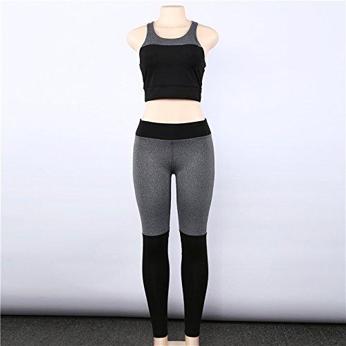 Langmotai Pantalon de yoga l'automne de dew back women's Women's Yoga Débardeur pantalon gris, série L
