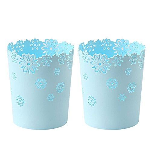 Wastebasket,Hmane 2PCS Hollow Flower Shape Plastic Lidless Wastepaper Baskets Trash Can - S