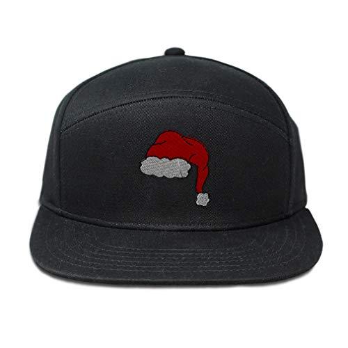 (Snapback Hats for Men & Women Santa Hat Embroidery Cotton Flat Bill Hybrid Baseball Cap Snapback Black Design Only)