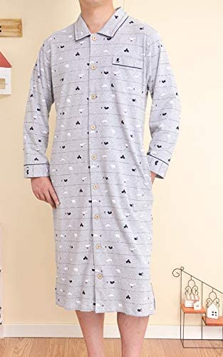 綿100% やや厚手なスムースニット地白くま柄 スリーパーパジャマ 長袖 前開き メンズ