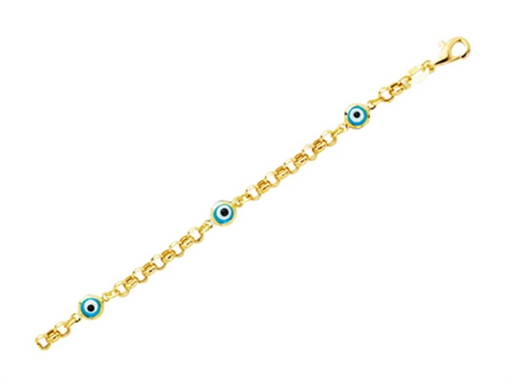 Finejewelers 14K Yellow Gold 5.5 Inch Evil Eye Childrens Bracelet with Pear Shape Clasp