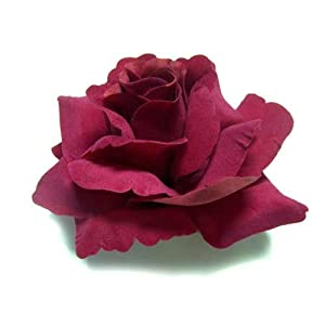 """(4) BIG Red Silk Roses Flower Head - 3.75"""" - Artificial Flowers Heads Fabric Floral Supplies Wholesale Lot for Wedding Flowers Accessories Make Bridal Hair Clips Headbands Dress 107"""