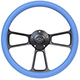 5-bolt Black Steering Wheel 14 Inch Aluminum with Sky Blue Vinyl Wrap and Chevy Horn Button