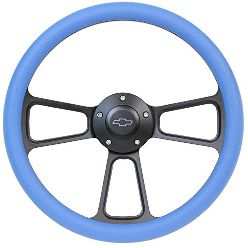 5-bolt Black Steering Wheel 14 Inch Aluminum with Sky Blue Vinyl Wrap and Chevy Horn Button by Forever Sharp