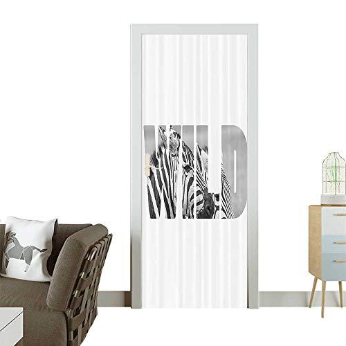 Homesonne 3D Door Decals Word Wild Over Zebras Safari Animals Adventure Traveling Theme Self Adhesive Door DecalW17.1 x H78.7 INCH